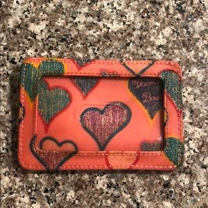 Dooney & Bourke rainbow hearts leather ID holder